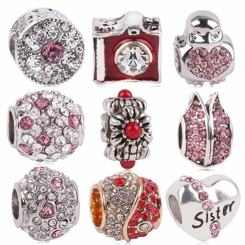 AIFEILI Original Gossip Penguin Sisters Camera Love Bead Crystal Enamel Charms Pendant For Pandora Bracelet Bangles DIY Women