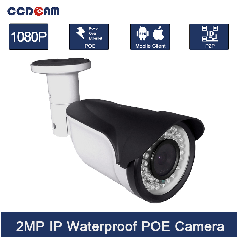 CCDCAM IP Camera PoE 2MP Full HD 1080p Security ONVIF 2.0 CMOS IR Night Vision H.264 Waterproof Outdoor PoE CCTV Camera original hikvision 1080p waterproof bullet ip camera ds 2cd1021 i camera 2 megapixel cmos cctv ip security camera poe outdoor