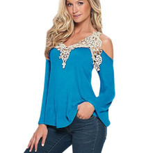 Women Blouse Shirt Top 2018 Solid Sexy Floral Lace Off Shoulder Blue Shirt Streetwear Long Sleeve Loose Plus Size 5xl Casual Top