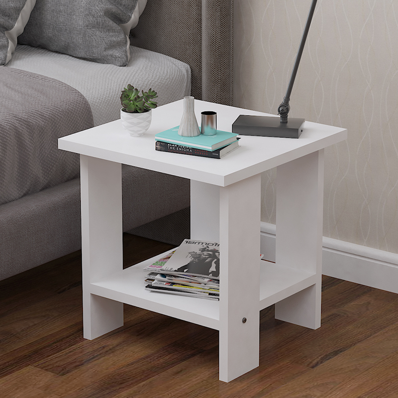 Simple Small Side Table Living Room Sofa Bedroom Bedside Balcony Corner Multi-Function Round End Table Black