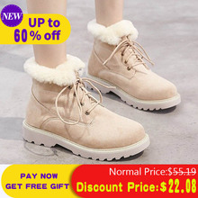 Liren 2019 Winter Warm Fur Plush Ankle Boots Female Snow Women Lace Up Flock Round Toe Suede Shoes