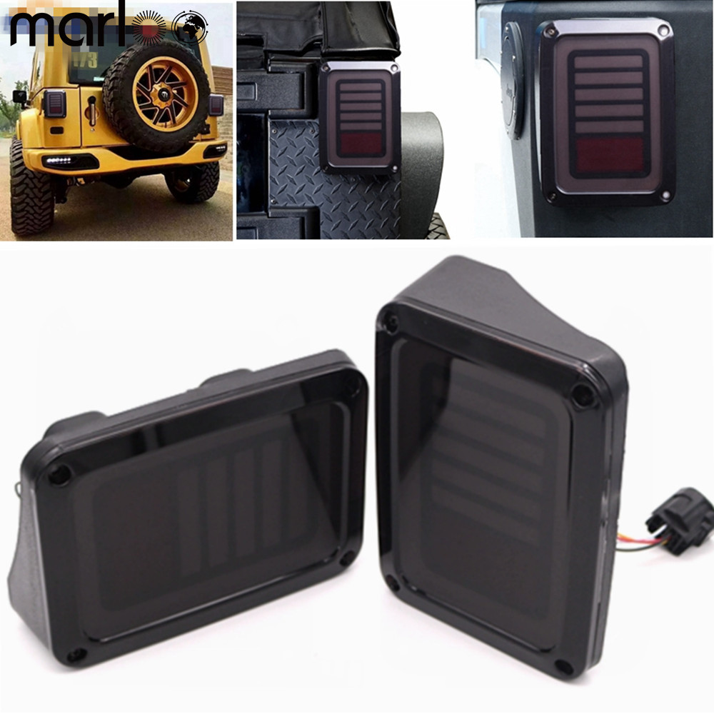 Marloo For Jeep Wrangler Taillights For Jeep Wrangler JK JKU Sports, Sahara, Freedom Rubicon 2007 - 2016 Smoked LED Tail Lights 2x for jeep engine hood lock latches with key locking catch kit for jeep wrangler jk sahara freedom rubicon 2007 2017 cek074 s