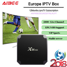 1Year IPROTV 2100+ X96mini Full HD French IPTV Box Android 7.1 IPTV Subscription Belgium Canada France Arabic VIP Sport IPTV VOD(China)