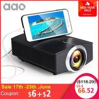 AAO YG500 обновление YG510 мини-проектор 1080 P 1800 люмен портативный ЖК-светодиодный проектор домашний кинотеатр USB HDMI 3D Beamer бас-динамик