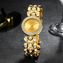 Ladies Watch CRRJU Top Brand Luxury Diamond Women Dress