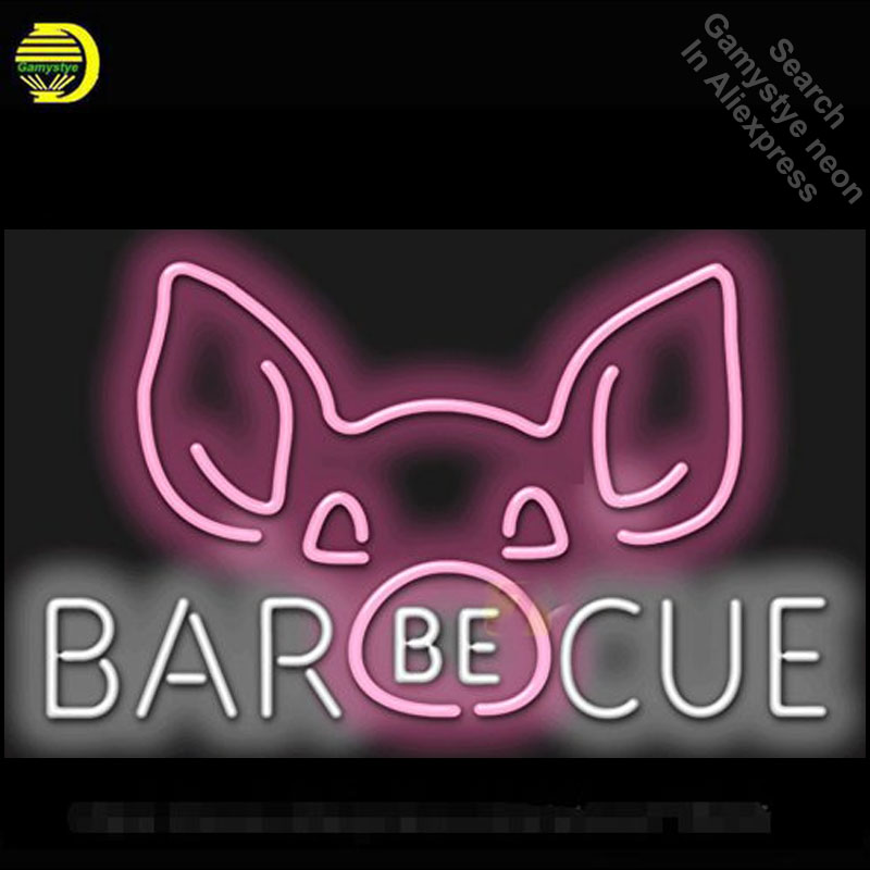 Neon Sign for Barbecue with Pig Face Graphic neon bulb Sign Beer Club Neon lights Sign glass Tube Iconic Custom Design Cerveja