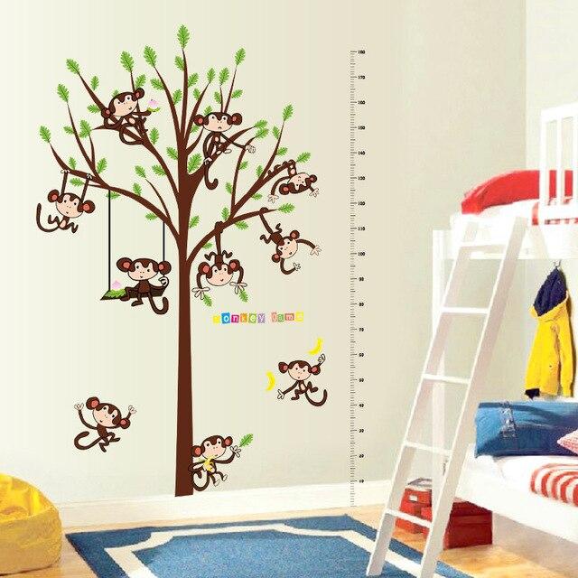 US $17.8 |Creative pvc wall stickers play monkey height stickers children  bedroom bedroom cartoon diy wall stickers-in Wall Stickers from Home & ...