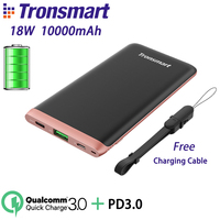 Tronsmart Trim PBD01 Power Bank 18W Portable Charger Battery Bank 10000mAh Quick Charge 3.0 with PD3.0 for iPhone X,Samsung