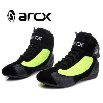 ARCX jazda motocyklem krótkie buty Moto ochrona kostki motocykl Biker Chopper Cruiser Touring boty buty dla mężczyzn kobiety Botas tanie i dobre opinie Skórzane ANKLE Windproof Unisex Cow leather+Nylon Breathable L60053GREEN Spring Summer Autumn Winter EU 36 37 38 39 40 41 42 43 44 45