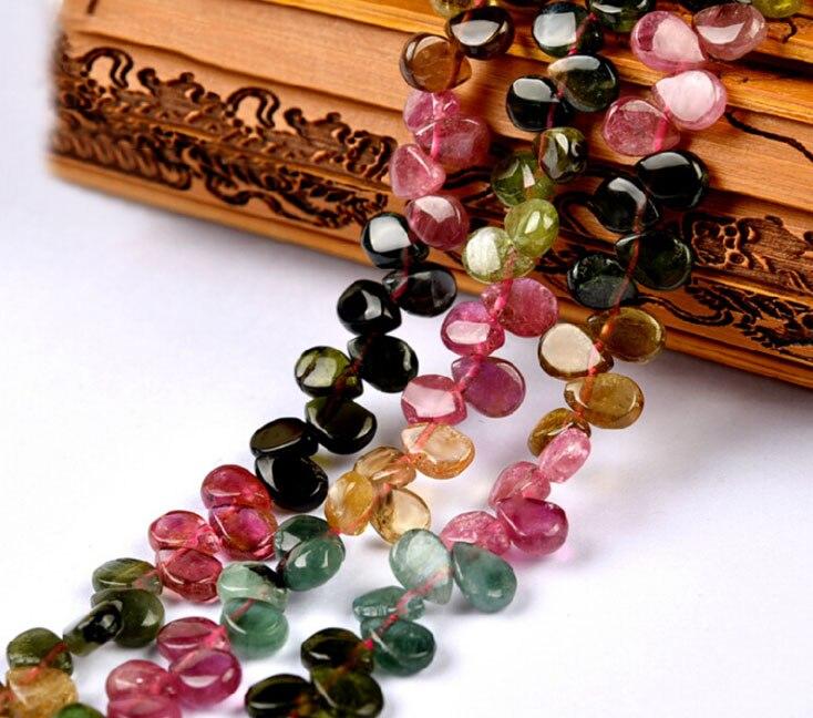 6.8x5mm Natural Crystal Tourmaline WaterDrop Beads For Jewelry Diy Bracelet Accessories ,Fine Gemstone Jewelry beads Strand 15