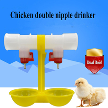 10pcs double head nipple drinker cups tray drinking water bowl waterer fountain automatic day old chick plastic cage accessories