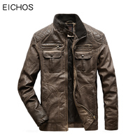 EICHOS EU Size Men Jacket Leather Vintage Distressed Winter Jackets Mens Motorbike Leather Clothing Multi pocket Mens Faux Coat