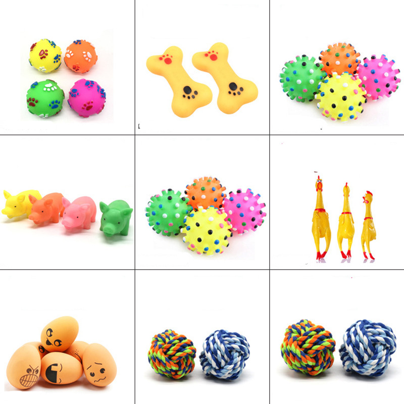 Fashion Rubber Squeak Toys for Dog Screaming Chicken Chew Bone Slipper Squeaky Ball Dog Toys Chew Tooth Grinding Training Toy in Dog Toys from Home Garden
