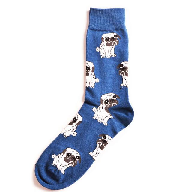 New Men Creative Design Crew Socks Astronaut Vulture Plant Chimpanzee Night Pug Animals Long Sokken Calcetines Hombre Divertidos