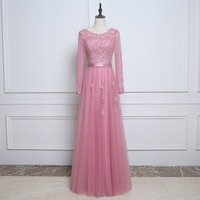 Floor Length Long Sleeve Bridesmaid Gown Wedding Party Dress Appliques Beading Sash A Line Pleated Tulle
