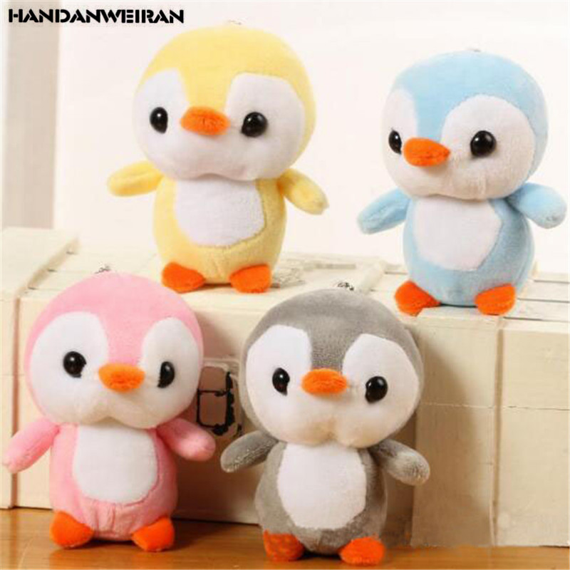 1PCS 12CM Animals Penguin Toys Small Pendant Dolls Cartoon Soft  Stuffed Mini Plush Penguins Toy For Kids Girls Gifts 4 Color