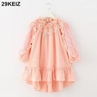 29KEIZ 2018 Spring Flower Girl Dress Linen Solid Pink Hollow Out Petal Sleeve Slash Neck Children