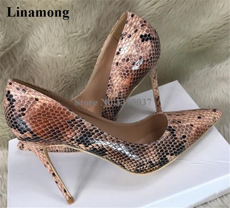 Brand Design Women Fashion Pointed Toe Snake Leather Thin Heel Pumps 12cm Slip-on Patchwork Colors High Heels Dress Shoes 2018 spring pointed toe thick heel pumps shoes for women brand designer slip on fashion sexy woman shoes high heels nysiani