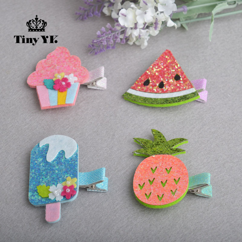 1 piece Lovely Girls ice cream hair clips hair accessories Girl Baby Kids Hair Clips Colorful Children Hairpin new arrival ladies barrettes colorful dots cloth hair clips bb hairpin for girls women hair accessories 8pcs lot