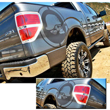 skull punisher body rear tail side graphic vinyl decals forFord FORD F150 RAPTOR 2009 2010 2011 2013 2014 torn body rear tail side graphic vinyl decalsbody tail side graphic vinyl decals for ford ford f150 raptor 2009 2014 kk