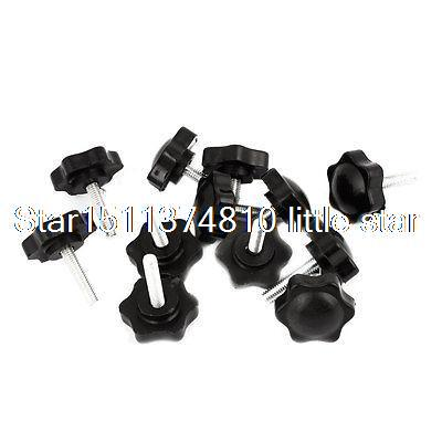 6mm x 32mm Male Thread 25mm Star Head Dia Screw On Type Clamping Knob 12 Pcs 5x 46mm high 25mm thread length screw on type star shape knob