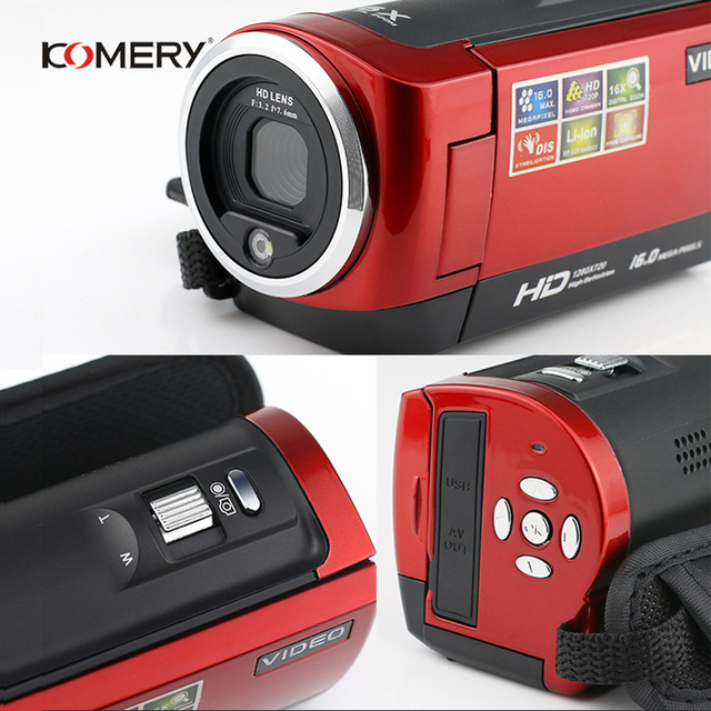 KOMERY HD Video Camera 2.7 Inch LCD screen 16x Zoom Digital Anti-shake Mini Camcorder camara fotografica digital professional 3