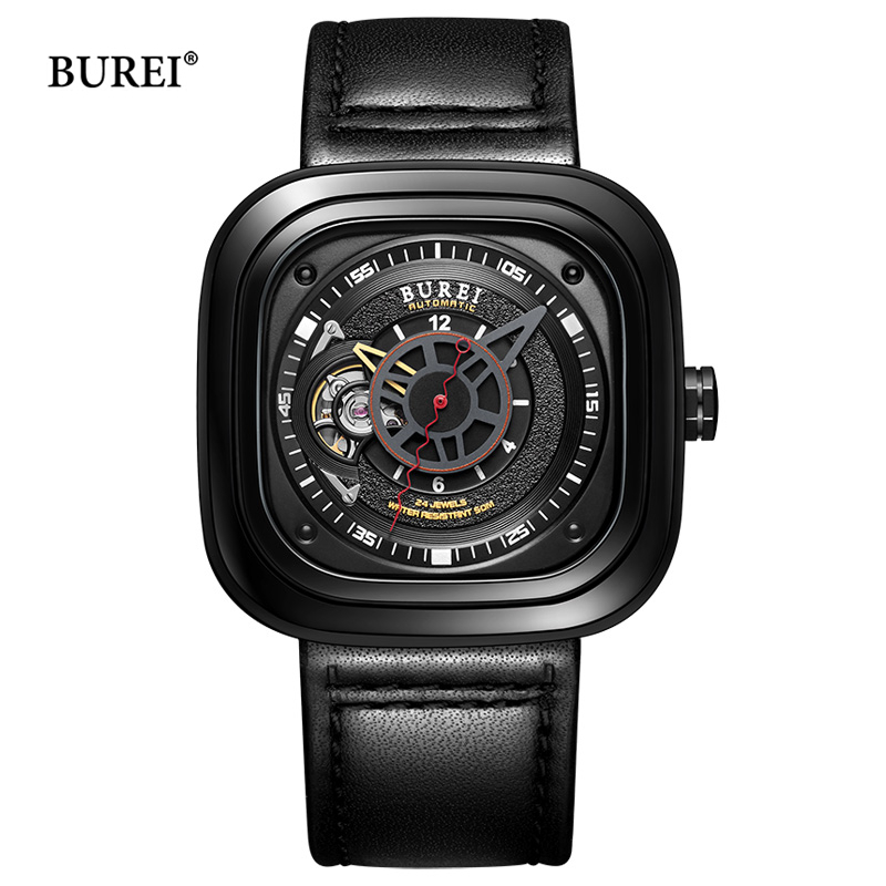 BUREI Men Square Dial Mechanical Watches Waterproof Leather Military Sapphire Automatic Wrist Watch Clock Saat Relogio