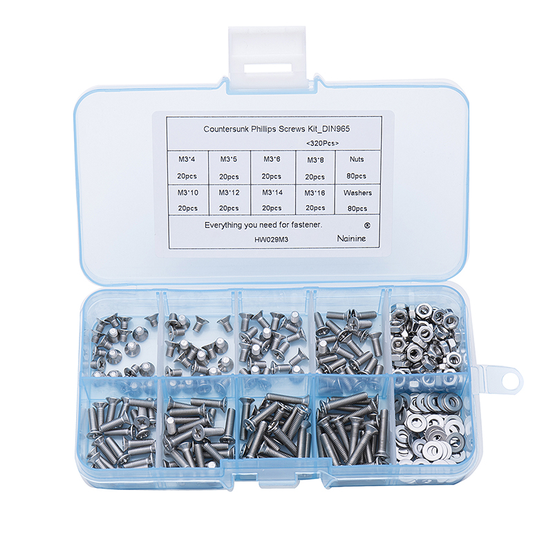 320Pcs/set M2 M2.5 M3 DIN965 ISO7046 GB819 304 Stainless Steel Machine Screws Flat Head KM Screw Kit HW029