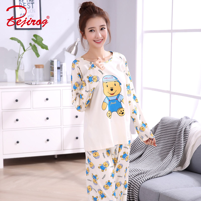 Bejirog women pajamas set cotton sleepwear long sleeved sleep clothing plus  size pijamas bear prints female autumn nighties suit-in Pajama Sets from  Women s ... 5f0ca3ab0
