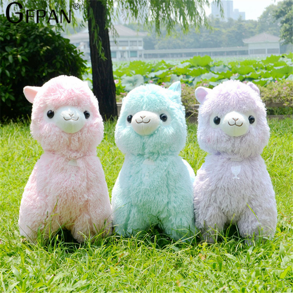 Hot Sale 45cm Rainbow Alpaca Plush Sheep Toy Japanese Soft Plush Alpacasso Baby 100% Plush Stuffed Animals Alpaca Gifts for kids(China)