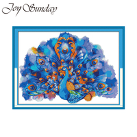 Joy Sunday Counted Cross Stitch Kits Blue peafowl Animal Crossing 11CT 14CT DMC Aida Fabric Printed Embroidery Kit Needlework