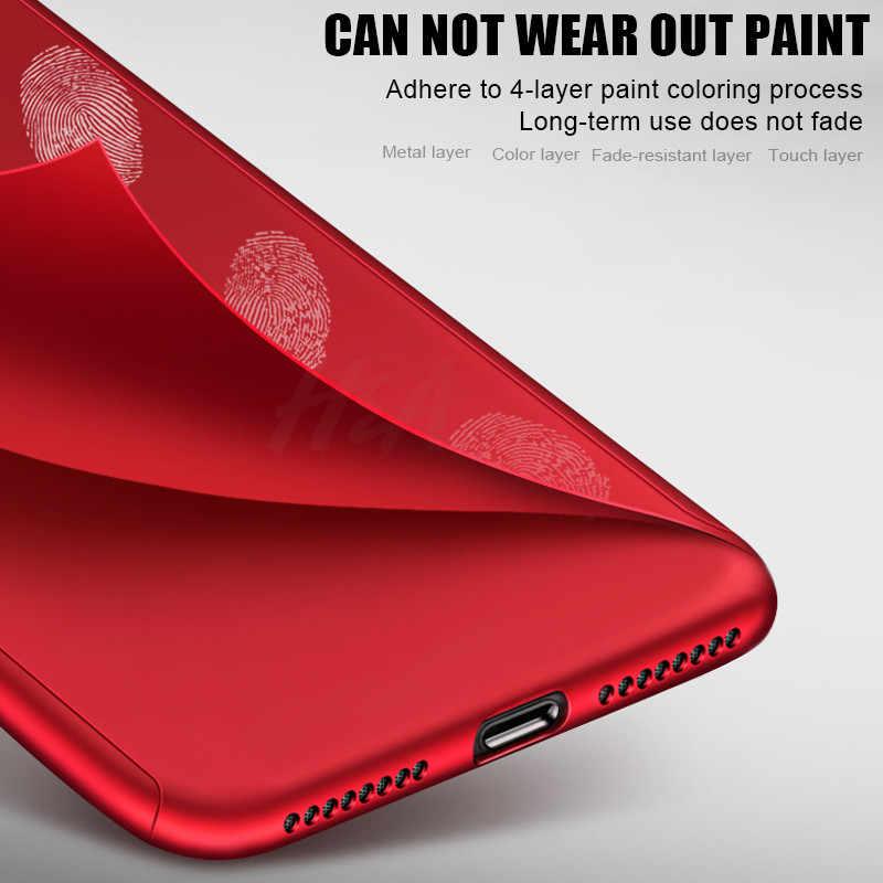H & A Luxury 360 غطاء كامل للهاتف حقيبة لهاتف أي فون 7 8 6 6s Plus 5 5s SE غطاء حماية لهاتف آيفون X XR XS Max مع زجاج