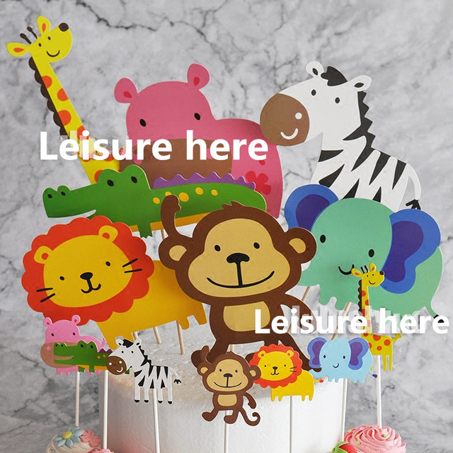 Online Shop 7pcs Baby Shower Safari Wildlife Animal Cake Topper Kids