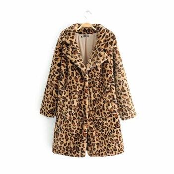 Women-s Vintage Leopard Faux Mink Fur Jackets Girls Autumn-Winter Animal Print Long Coats Ladies Faux Wool Hairly Warm Outerwear jeans con blazer mujer