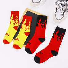 1 Pair Unisex Flame Funny Fire Novelty Hip Hop Harajuku Socks Skateboard Calceines Mujer Street Skarpetki Men Women