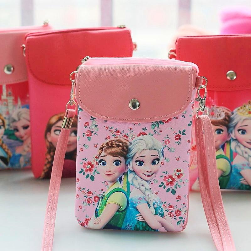 Disney Cartoon Princess Messenger Bag Pu Leather Cute Girl Snack Bag Ladies Convenient Messenger Cell Phone Bag Frozen Elsa Anna