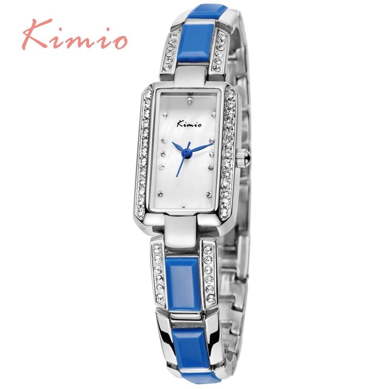 KIMIO Fashion Blue Bracelet Band relogio feminino Vogue Crystal Diamond Women Quartz Watch Luxury Rectangle Dial