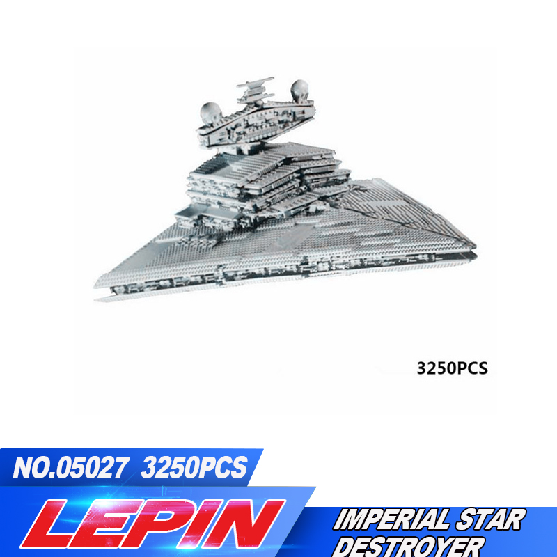 New LEPIN 05027 3250Pcs  Imperial Super  Star Destroyer Model Building Kit Blocks Bricks Compatible legoed 10030 lepin 05035 star wars death star limited edition model building kit millenniums blocks puzzle compatible legoed 75159