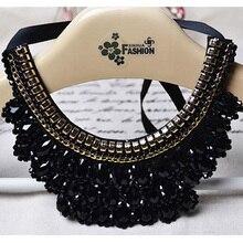 MIARA.L black lace beaded collar choker collar necklace fake collar women 's clothing accessories sweet false collar