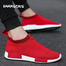 Trend 2019 Men Summer Mens Casual Sock Shoes sapato masculino Sneakers Men Adult Sock Slip on Shoes Chaussure Homme Loafer Shoes