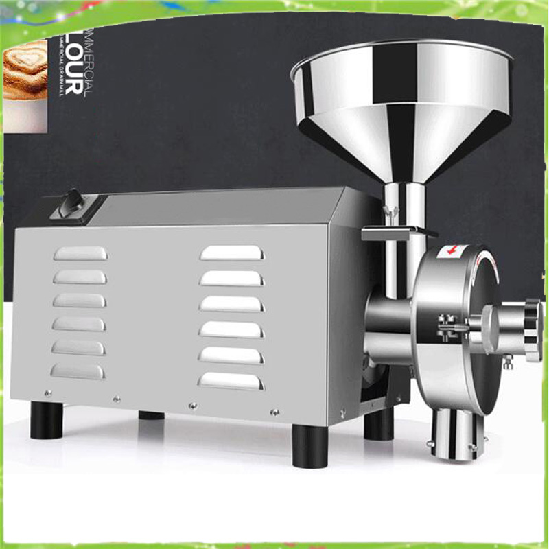 flour mill medicine pulverizer cereal grain grinding machine steel bean wheat rice sesame grinder free shipping 1000g commercial grain grinding machine herb grinding machine flour mill coffee mill