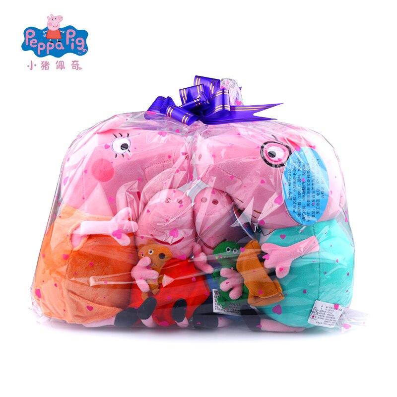 Original 4 pièces 30/19 cm Peppa George Pig Set avec sac cadeau en peluche jouets en peluche famille Kawaii poupée cadeau d'anniversaire enfant fille jouet