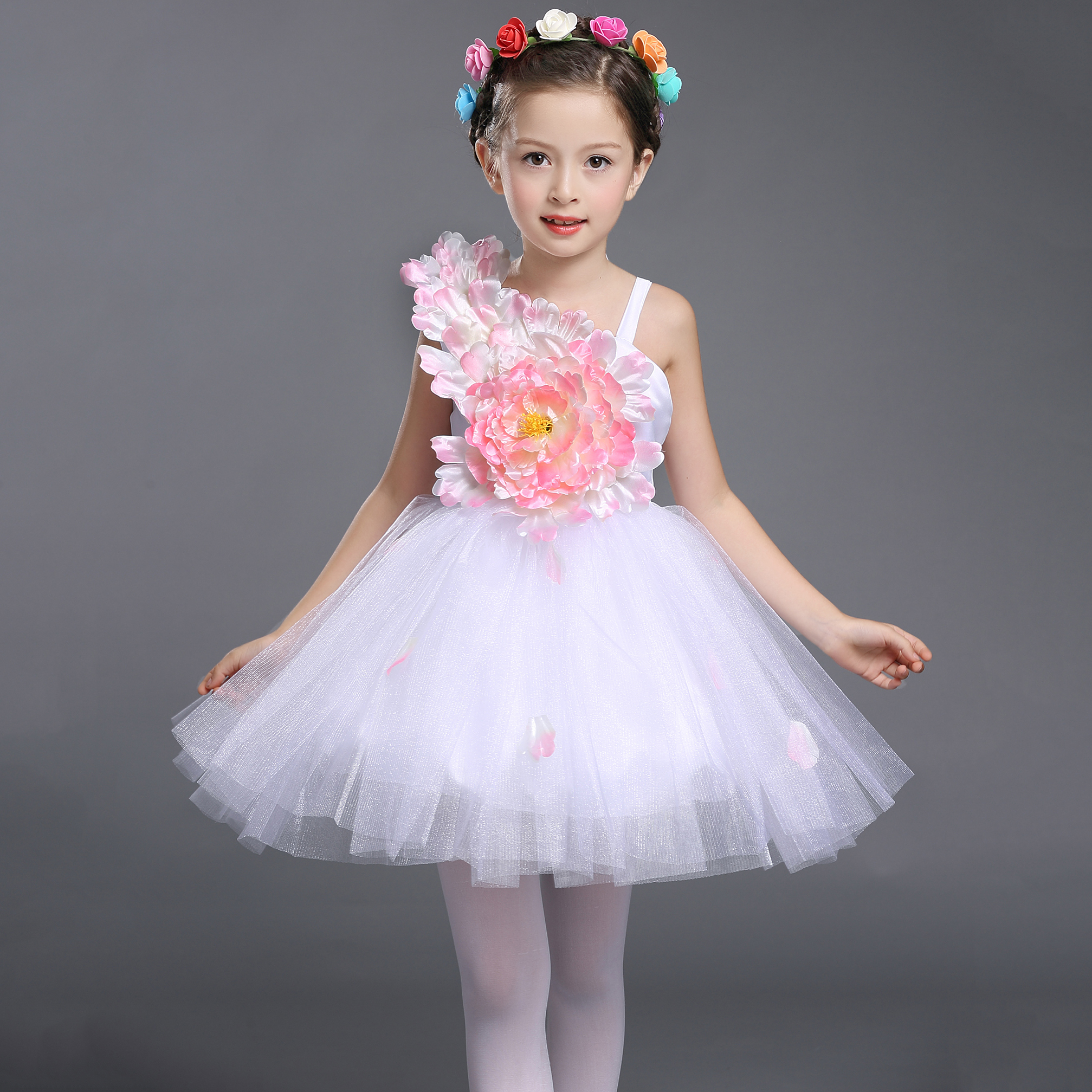 hot White Formal Pageant Flower Girls Dress Prom Party Princess Ball Gown