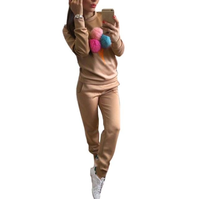 2 Peça Set 2017 Mulheres Novo Desfile de Moda Conjuntos Esportivos Cabelo Bola de Sorvete Impressão Mulheres Casuais Camisola Hoodies Ternos conjunto