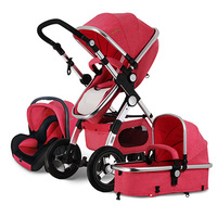 EU free Ship! Baby Stroller 3 in 1 with Car Seat For Newborn High View Folding Baby Carriage carrinho de bebe 3 in 1 baby car