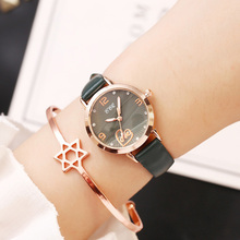 New Women Bracelet Watches Fashion Leather Green Watch Luxury Diamond Female Quartz Clock Waterproof bayan kol saati