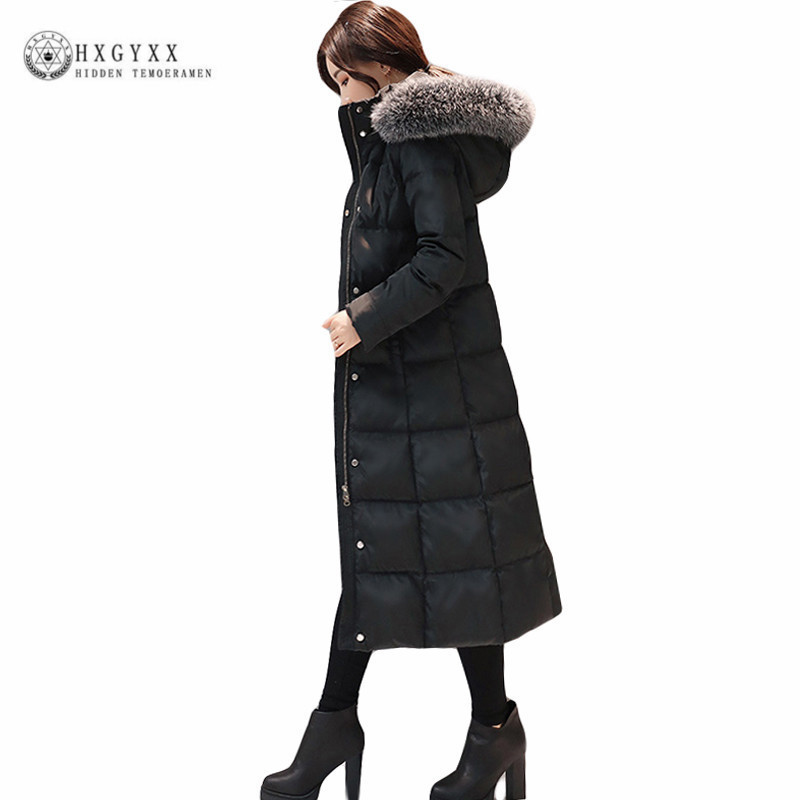 2018 Goose Feather Jacket Woman Winter Duck   Down     Coat   Long Plus Size Hooded Parka Warm Clothing Black Slim Outerwear Okd365