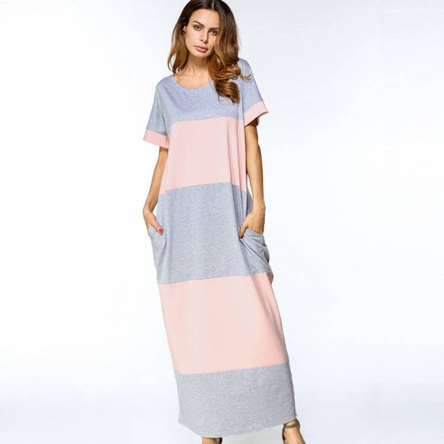 Summer Maxi Dress with Short Sleeve Casual