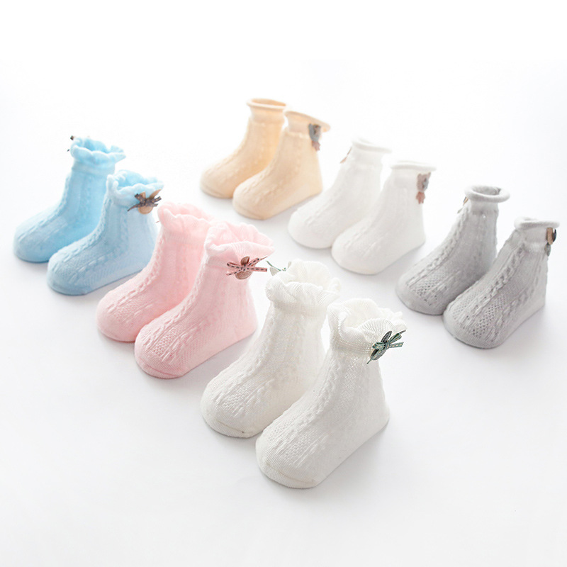 3 Pairs Baby Socks Cute Rabbit Bear Decoration Mesh Thin Cotton Baby Socks Children Cartoon Non slip Glue Baby Toddler 0 1 3Y in Socks from Mother Kids