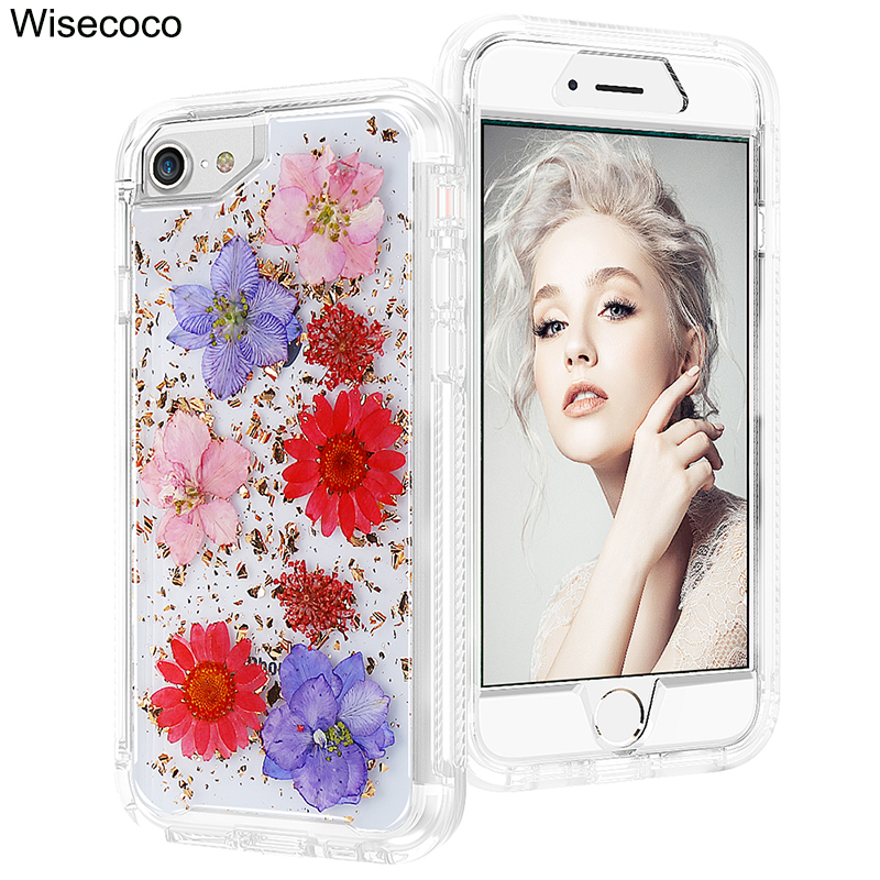 Phone Case For Iphone 6 6s Luxury Glitter Lovely Soft Silicone Hard PC 360 Full Shockproof Cover For iphone 8 7 plus X 10 Coque